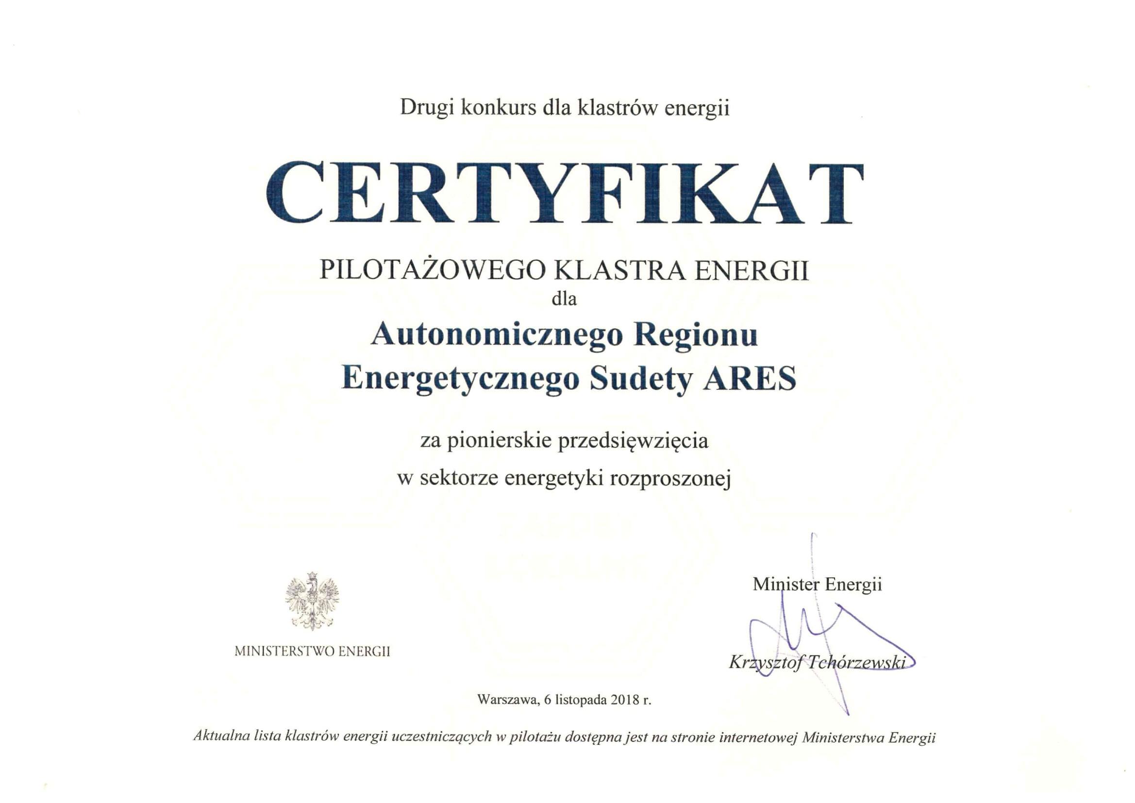 certyfikowany klaster energii ares